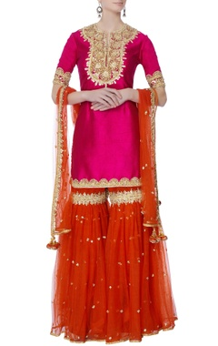 Pink silk kurta with garara pants & dupatta