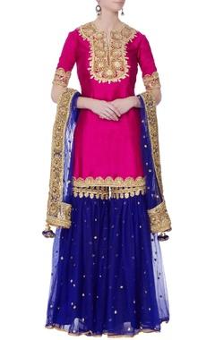 Pink silk kurta with garara pants & dupatta