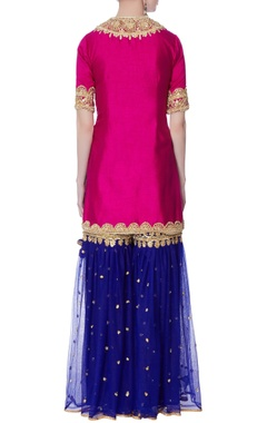 Pink silk kurta with garara pants & dupatta.