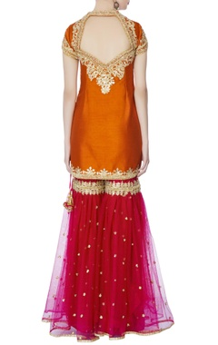 Orange kurta with garara pants & dupatta intricate gold gota work