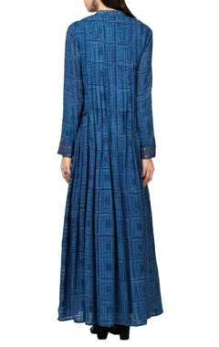 indigo blue printed long kurta