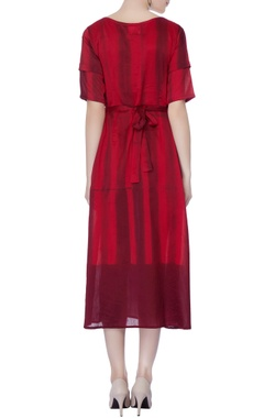 maroon stripe dress with tie up straps