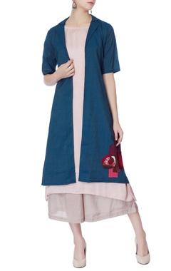 blue silk jacket with peach kurta & palazzos