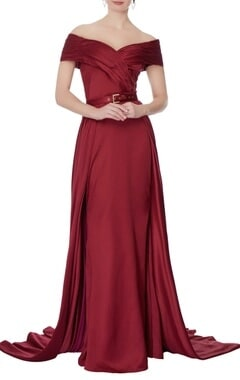 Swapnil Shinde Maroon off shoulder gown with detachable skirt