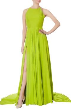 Swapnil Shinde Neon green halter flowy gown