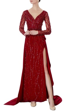 Swapnil Shinde Maroon & red bead embellished gown