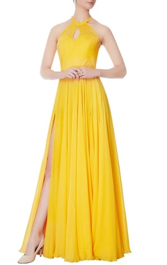Swapnil Shinde Yellow halter chiffon silk gown