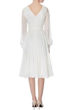White chiffon wrap style dress