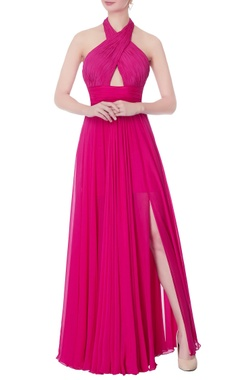 Swapnil Shinde Hot pink halter gown