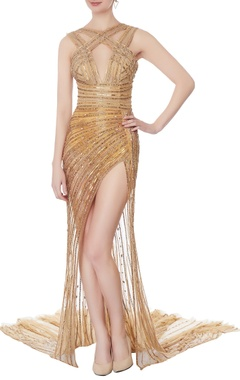 Swapnil Shinde Gold bead embellished net gown