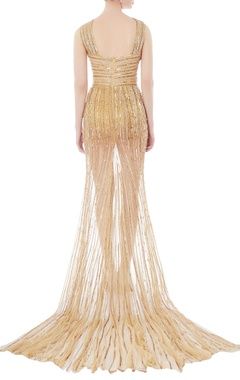 Gold bead embellished net gown
