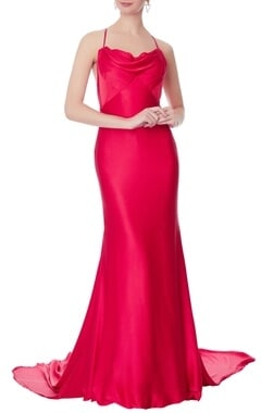 Swapnil Shinde Red satin cowl neckline gown