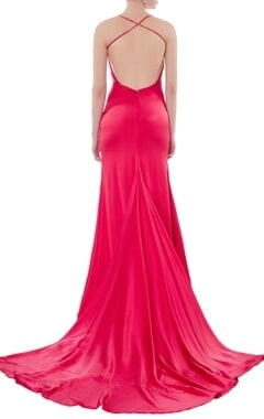 Red satin cowl neckline gown
