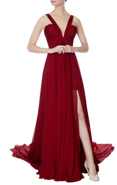 maroon chiffon v-neck gown