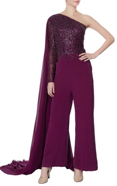 Swapnil Shinde Purple one-shoulder sequin jumpsuit