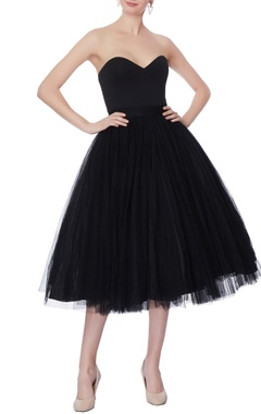 Swapnil Shinde Black net skater dress