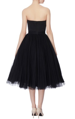 Black net skater dress