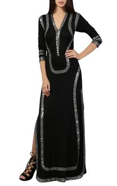 black sequin work kaftan