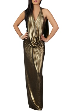 Malini Ramani Gold shimmer draped gown