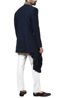 Blue embossed banhgala with white trousers
