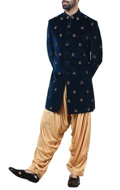 blue velvet sherwani with patiala pants