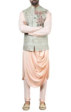 Green tussar silk nehru jacket set