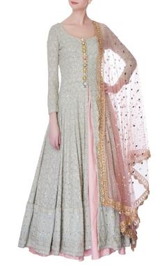 icy blue lucknowi jacket & silk lehenga