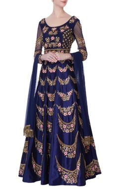navy blue raw silk anarkali set