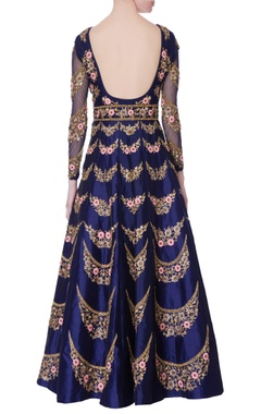 Navy blue raw silk anarkali set.