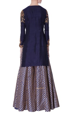 navy blue kurta & gota sharara pants