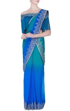 blue shaded pre-draped embroidered sari with blouse