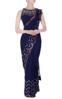 Rajat & Shraddha Navy blue pre-draped embroidered sari with blouse
