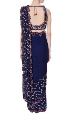 Navy blue pre-draped embroidered sari with blouse