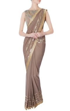 Rajat & Shraddha Taupe pre-draped embroidered sari with blouse