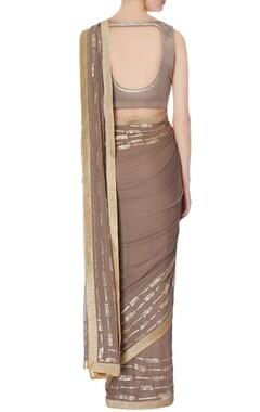 taupe embroidered sari with blouse