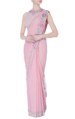 Rajat & Shraddha Rose pink pre-draped embroidered sari with blouse