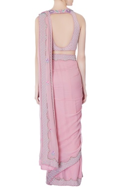 Rose pink pre-draped embroidered sari with blouse