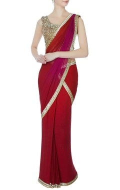 maroon sequin sari with blouse