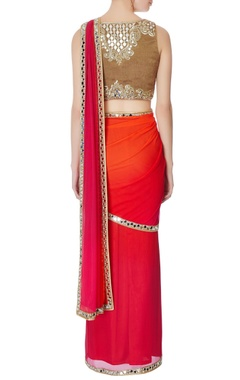Red pre-draped embroidered sari with blouse
