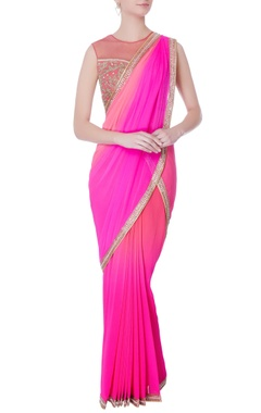 Rajat & Shraddha Pink pre-draped embroidered sari with blouse