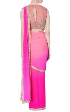 Pink pre-draped embroidered sari with blouse