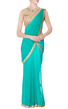 sea green sequin sari with blouse