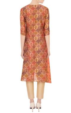 orange tinted wrap kurta in sanganeri print