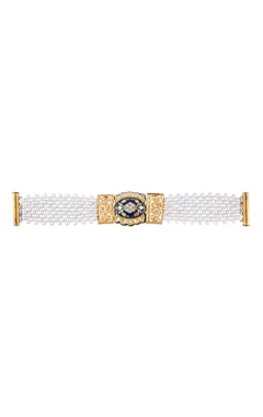 White gold plated pearl bracelet