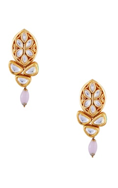 Just Jewellery Pink semi-precious stones gold plated stud earrings