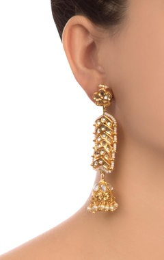 Gold semi-precious stones gold plated earrings