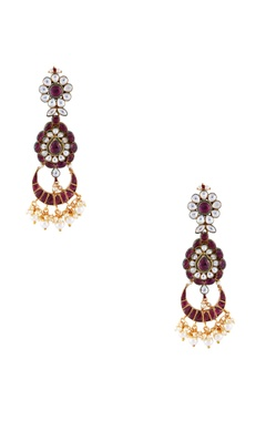 Just Jewellery Red semi-precious stones gold pated earrings