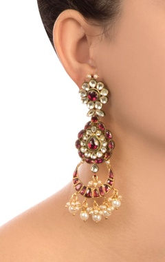 Red semi-precious stones gold pated earrings