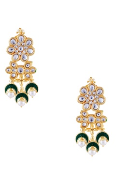 Just Jewellery Green semi-precious stones gold plated earrings