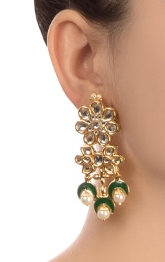 Green semi-precious stones gold plated earrings